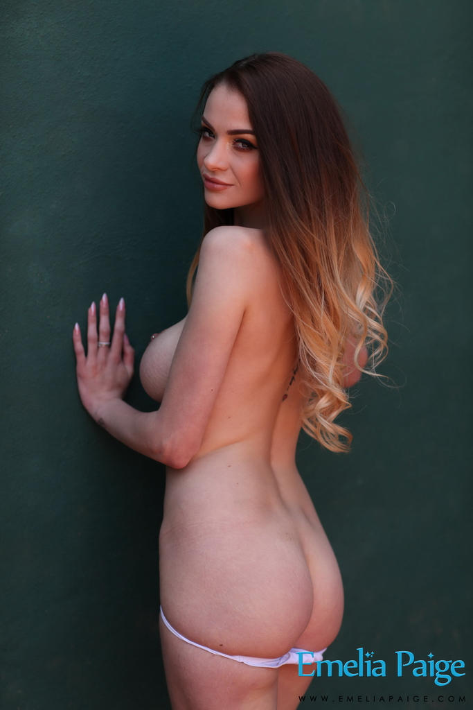 Emelia Paige Shooting Topless Outdoors