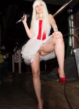 Jeny Smith - High heels upskirt flashing at cosplay event