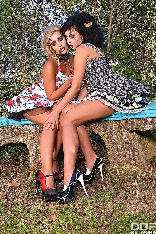 Hot Legs And Feet: Tracy Lindsay  & Lucy Li - Watch The Lesbian Living Dead