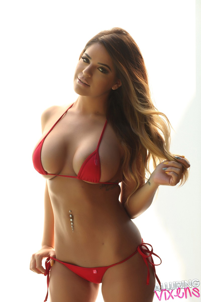 Alluring Vixens: Rosalee - Busty Alluring Vixen Babe Teases With Her Big Boobs As She Takes Off Her Skimpy String Bikini Top
