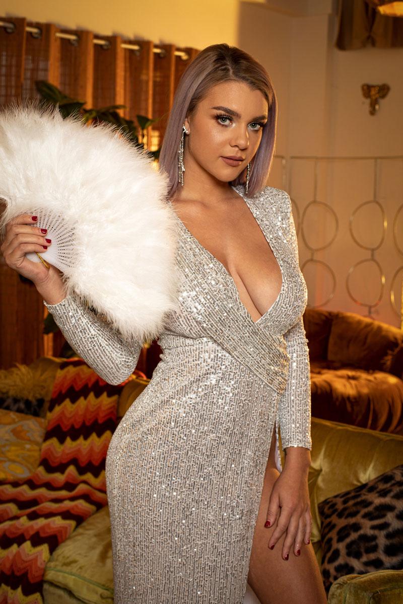 Twistys Gabbie Carter in a Shiny Dress 2