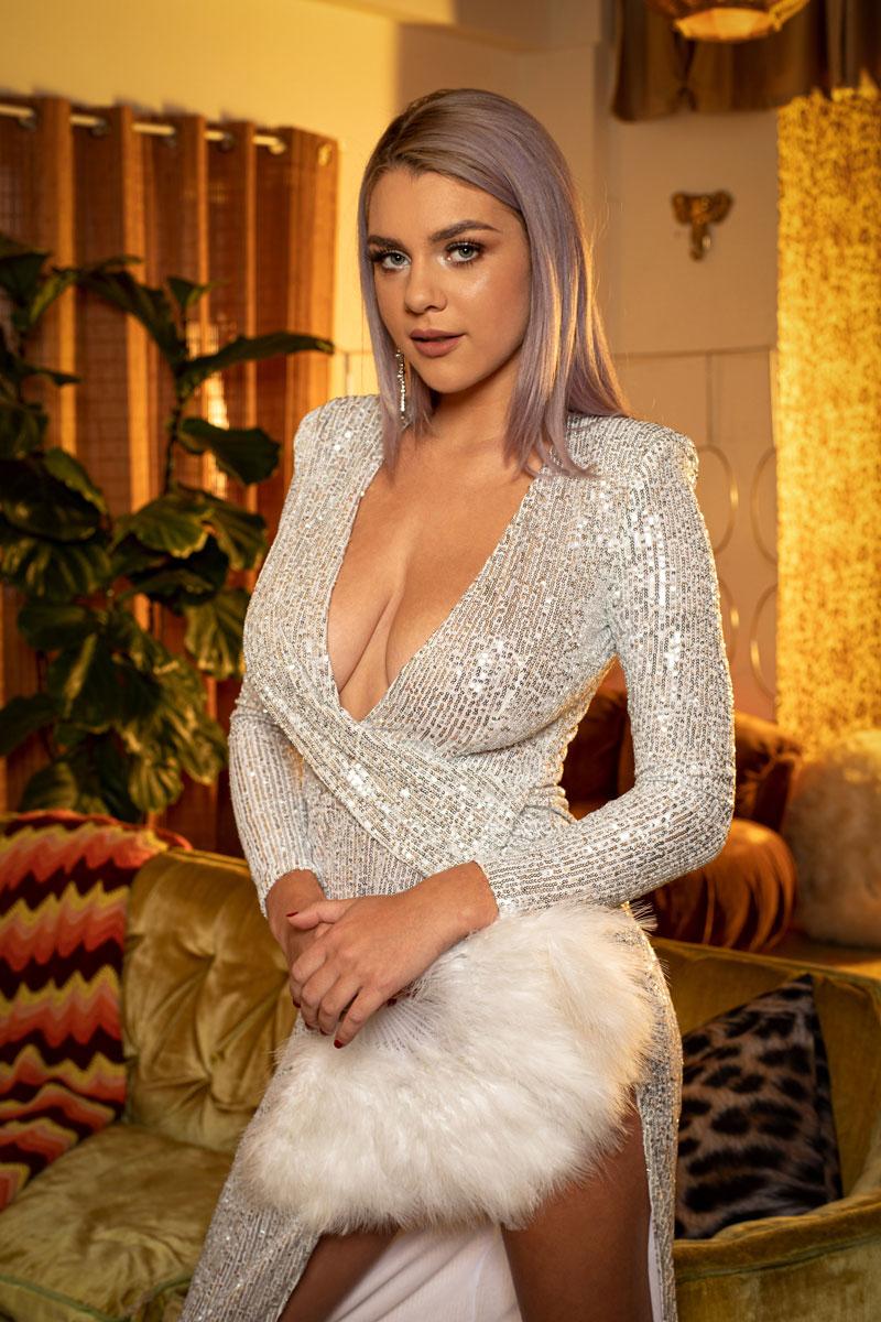 Twistys Gabbie Carter in a Shiny Dress 1
