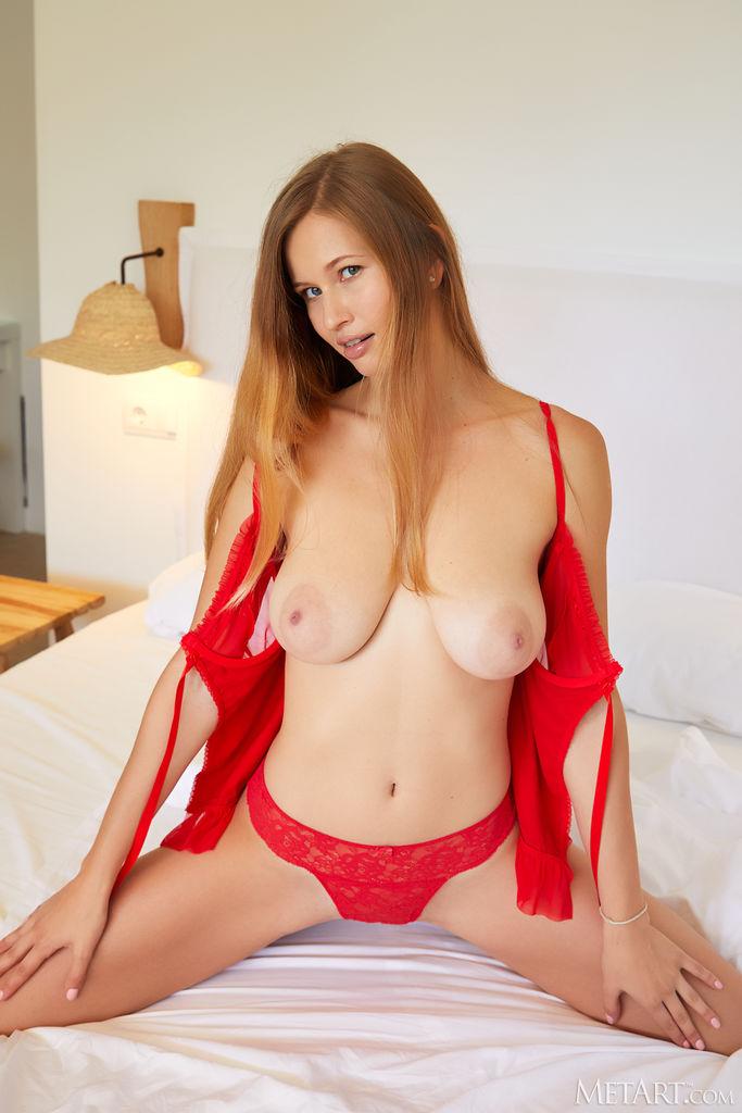 Met-Art Stella Cardo Posing in Red Lingerie 5