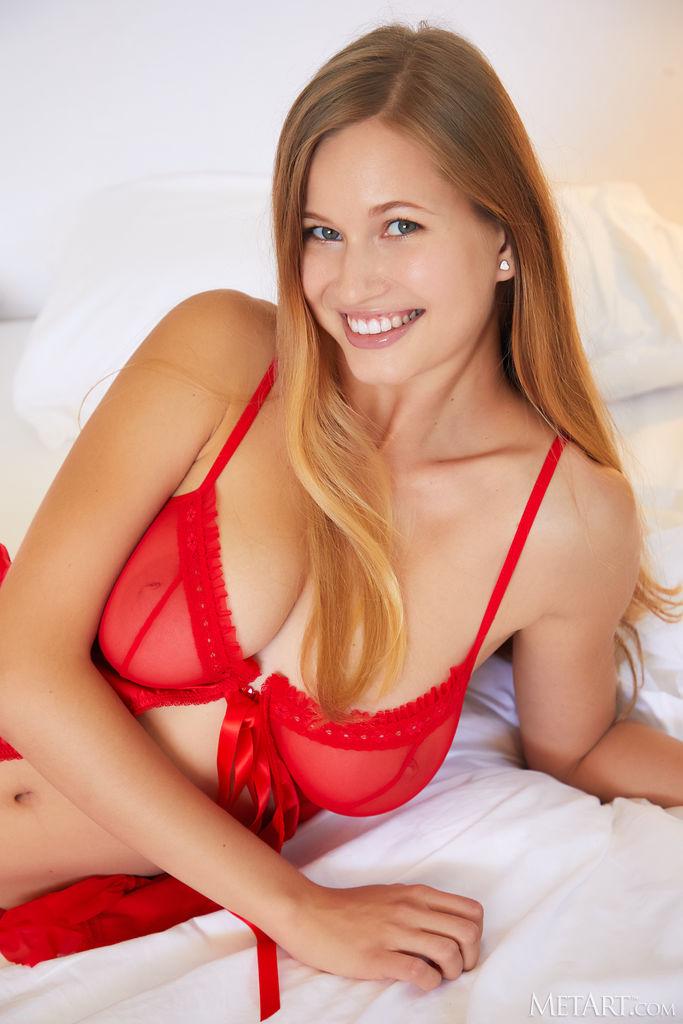 Met-Art Stella Cardo Posing in Red Lingerie 1