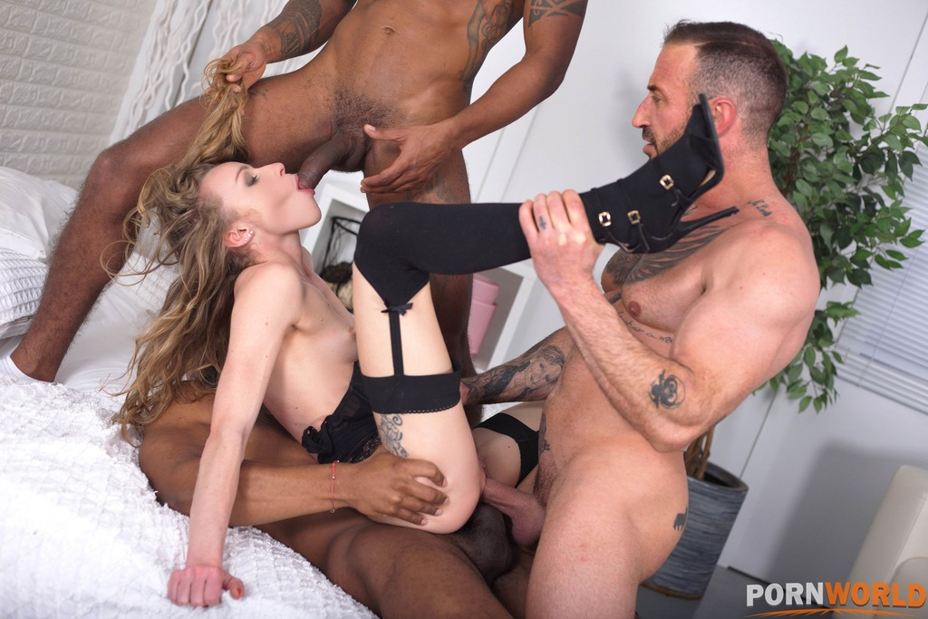 Wild Slender French Chick Angel Emily Cucks Her Hubby with 2 BBCs & then He Joins In GP1771 6