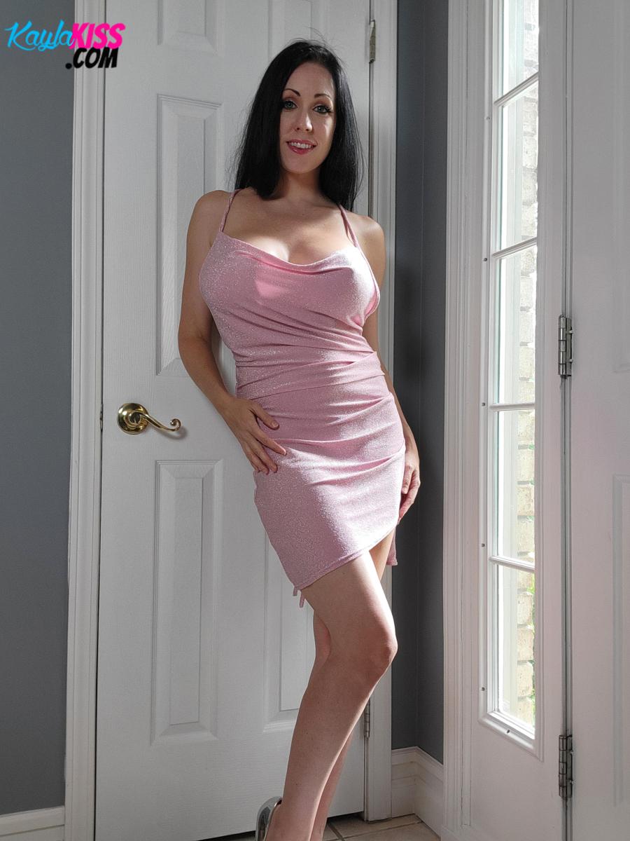 Kayla Kiss - Pink Dress No Panties 4