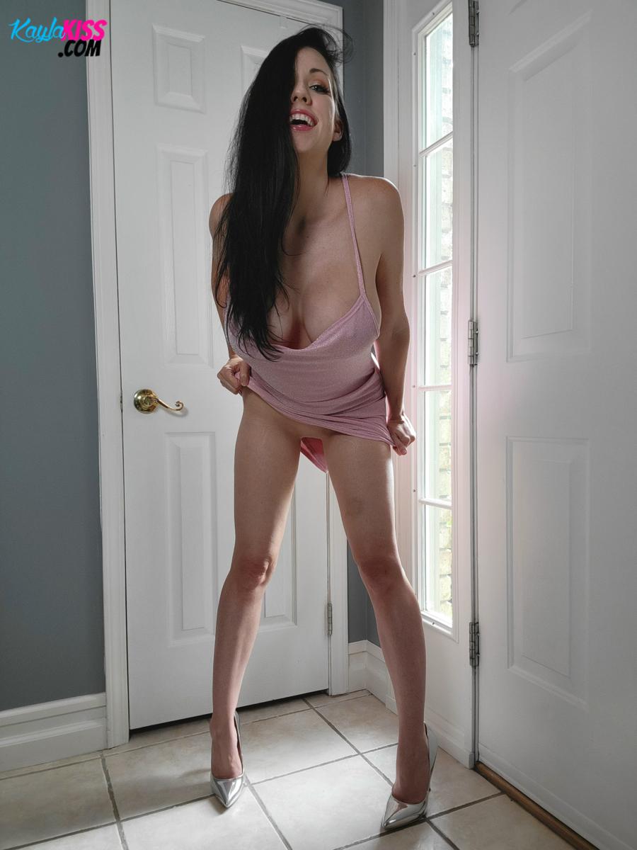 Kayla Kiss - Pink Dress No Panties 5