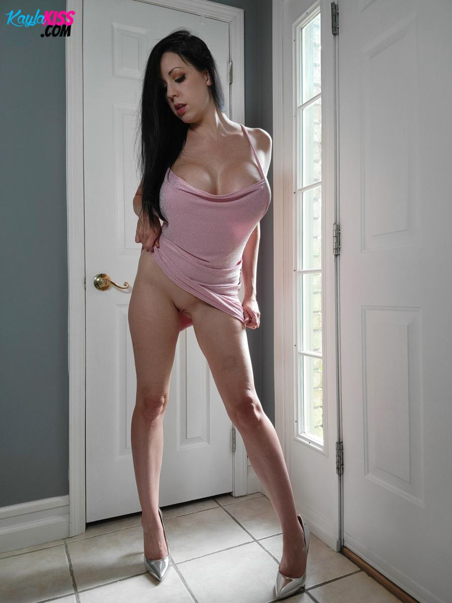 Kayla Kiss - Pink Dress No Panties 6
